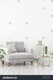 scandinavian livingroom interior wall mock gray stock illustration