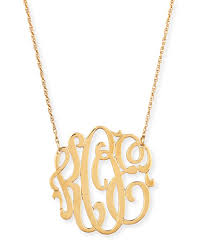 Gold Plated Monogram Necklace Jennifer Zeuner 18k Gold Vermeil Medium 3 Letter Monogram Necklace