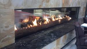custom see through gas fireplace 16 u0027 wide by 3 u0027 tall x 2 sides