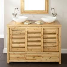 reclaimed wood floating bathroom vanity dark brown varnished