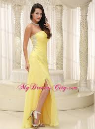 ruched beading high slit yellow prom gown with side zipper
