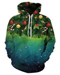 christmas tree galaxy star long sleeve green pattern 3d painted
