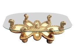 ornate italian baroque coffee table w shell inlay on chairish com
