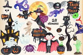 halloween kids cartoons watercolor halloween kids clipart by vi design bundles