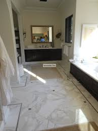 calacatta gold 18x18 marble installed in diagonal pattern lagos
