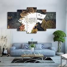 popular winter posters buy cheap winter posters lots from china modern wall art pictures home decor modular poster frame 5 pieces hd printed winter game of