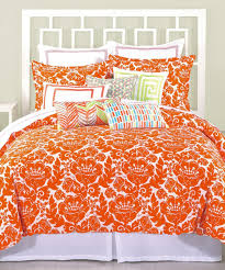 bright orange damask 100 cotton king comforter set with white