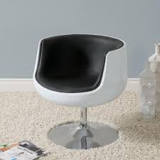 Barrel Chairs Swivel Corliving Mod Modern Black And White Bonded Leather Swivel Barrel