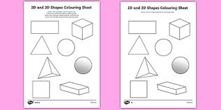 shape recognition worksheet 2d and 3d shapes colouring sheets 3d 2d 3d shapes shapes