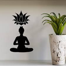 buddha wall decals lotus flower yoga pose gym home interior