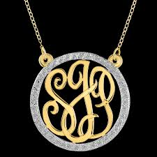 monogram pendants necklace with cubic zirconia