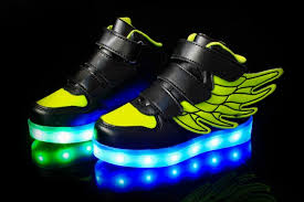 led light up shoes kids fluorescent green led light up shoes with wings as gift