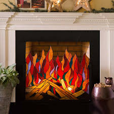 stained glass roaring fire screen so that u0027s cool