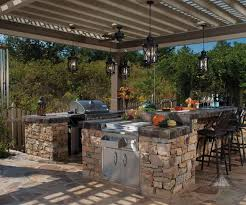 outdoor kitchen ideas diy granite countertop black cushion diy