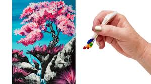 how to paint a simple cherry tree waterfall using q tips the