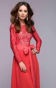 chic maxi dress coral top lace dress evening full skirt dress