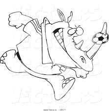 vector of a cartoon rhino with a soccer ball on his horn