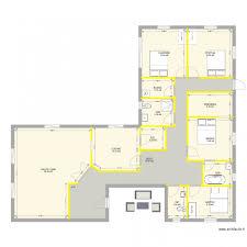 plan maison en l plain pied 4 chambres plan maisons plain pied 4 séduisant plan maison plain pied en l 4