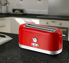 swan st10090redn 4 slice long slot toaster red kettle and