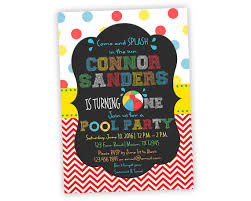 printable pool party first birthday invitation 1st birthday