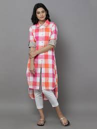 pink off white cotton check shirt stylista salwars