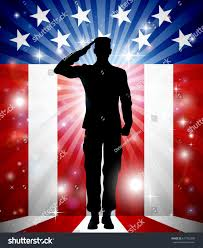 A American Flag Pictures Us Soldier Saluting Front American Flag Stock Vector 617702300