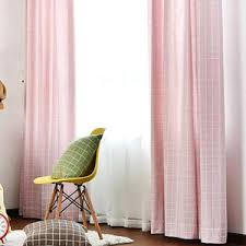 pastoral style linen jacquard blue plaid country curtains for kids