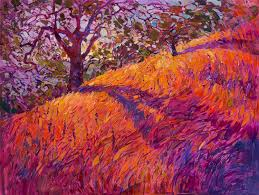vibrant landscape paintings use the color orange to capture the