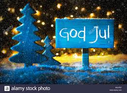 blue tree god jul means merry snowflakes stock photo