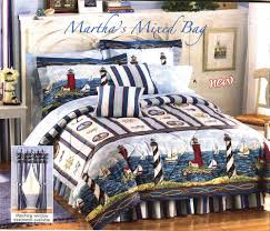 Nautical Quilt Nautical Lighthouses Sailboats Blue White Comforter Set Drapes