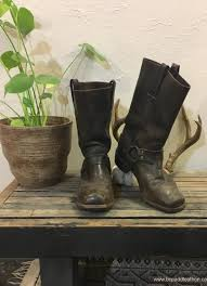 boots no taxes vintage frye smith harness engineer dark brown