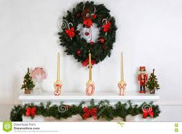 closeup fireplace mantel with wreath stock photo image 78149219