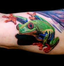 awesome green tree frog on arm