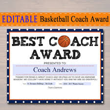 editable basketball coach award certificate instant download