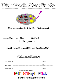 pet rock certificate
