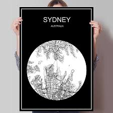 compare prices on sydney room online shopping buy low price black white city map of sydney australia print poster print on paper or canvas wall sticker