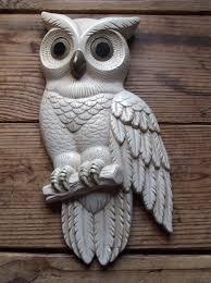 vintage plaster white owl wall art garden distressed decor