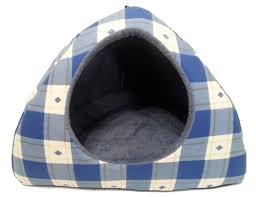 Large Igloo Dog House Blue U0026 Yellow Checked Pattern Dog Bed Igloo Large