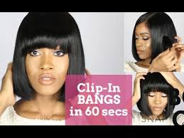pics of black woman clip on hairstyle bangs in 60 seconds clip in bangs for black women youtube