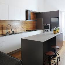 kitchen white and grey cabinets black metal barstools laminate