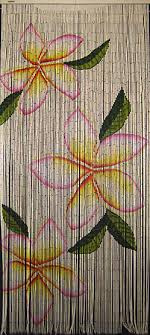 Painted Bamboo Curtains Painted Bamboo Bead Partition With Plumeria Design