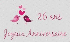 26 ans de mariage carte anniversaire mariage 26 ans oiseau coeur