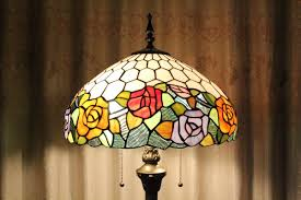 Tiffany Floor Lamp Shades Vintage Metal Base Stained Glass Flower Tiffany Floor Lamp