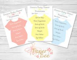 baby shower guessing personalised baby shower guessing prediction cards boy girl