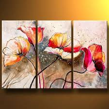 red labyrinth flowers modern canvas art wall decor floral oil