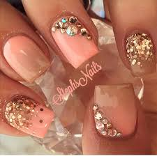 coral sparkle and rhinestone nail design nails pinterest