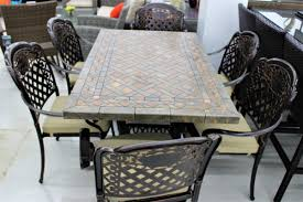 stone top dining room table 7 pc stone tile top dining table set