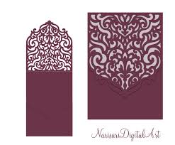 Quinceanera Invitation Cards Wedding Invitation Pocket Envelope U0026 Half Fold Card Svg Template
