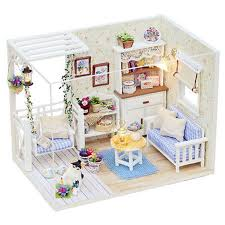 cheap diy wood dollhouse miniature buy quality house room