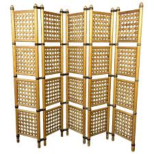 Nautical Room Divider Decorative Freestanding Beige Woven Bamboo 4 Panel With